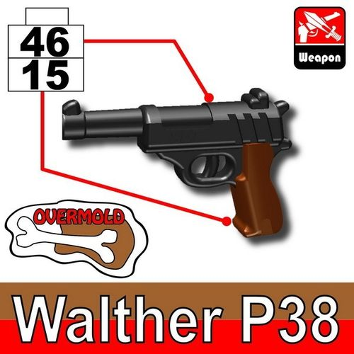 MinifigCat Custom Walther P38 Dark Black+Brown