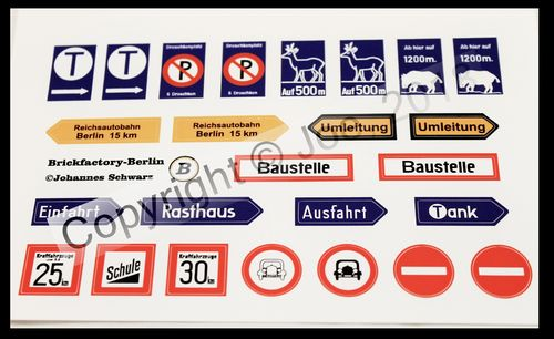 Sticker sheet VIIII German Traffic signs of the 30s