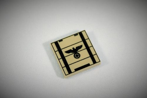 "Printed LEGO® tile 2x2 ""Ammunition Crate I"" (Color: dark tan)"
