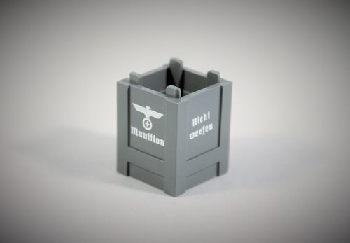 "Printed LEGO® part 2x2x3 ""Ammunition Crate II"" (Color: Dark Bluish Grey)"