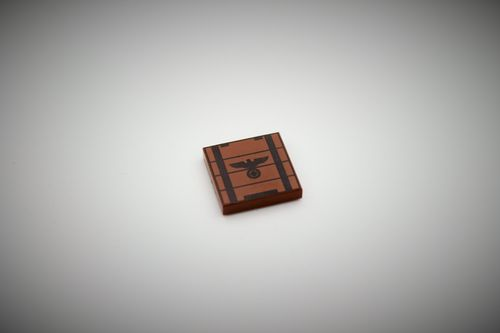 "Printed LEGO® tile 2x2 ""Ammunition Crate I"" (Color: Reddish brown)"