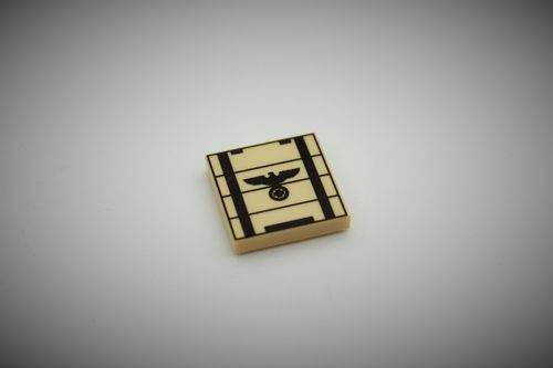 "Printed LEGO® tile 2x2 ""Ammunition Crate I"" (Color: Tan)"