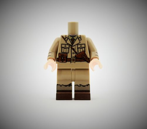 WWII French Officer out of printed LEGO® bricks (Color: Dark Tan)