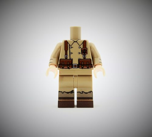 WWII French Soldier 1 out of printed LEGO® bricks (Color: Dark Tan)