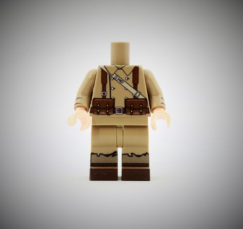 WWII French Soldier 2 out of printed LEGO® bricks (Color: Dark Tan)