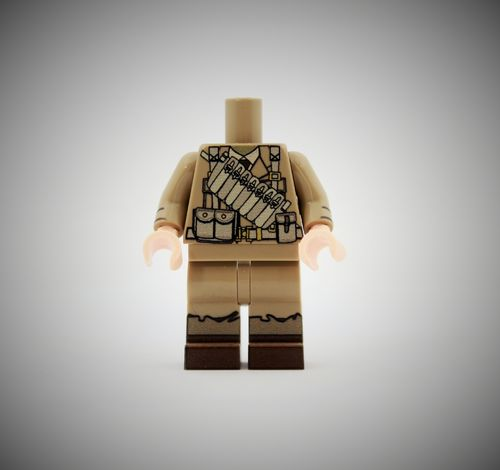 WWII British Soldier 2 out of printed LEGO® bricks (Color: Dark Tan)