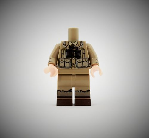 WWII British Soldier 3 out of printed LEGO® bricks (Color: Dark Tan)
