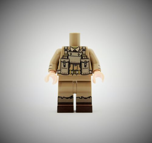 WWII British Soldier 4 out of printed LEGO® bricks (Color: Dark Tan)