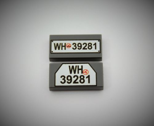 "Printed LEGO® tiles 1x2 ""Package of 2 of license plates set 3"" (Color: DBG)"