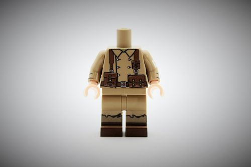 WWII French Medic out of printed LEGO® bricks (Color: Dark Tan)