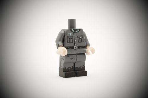 WWII German Radio Operator out of printed LEGO® bricks (Color: Dark Bluish Grey)