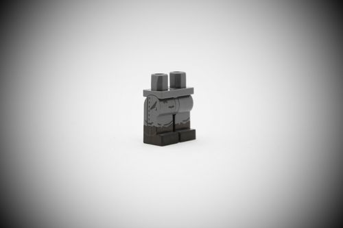 WWII Legs with front pockets out of printed LEGO® bricks (Color: Dark Bluish Grey)